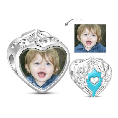 Blue Wing Photo Charm