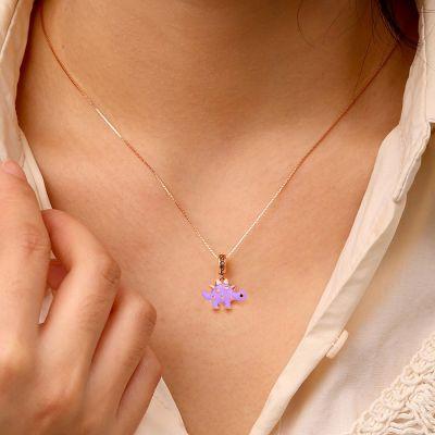 Purple Dinosaur Necklace