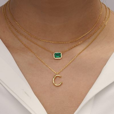 Bamboo Initial C Necklace