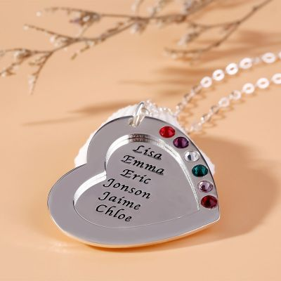 Personalized Heart Family Necklace