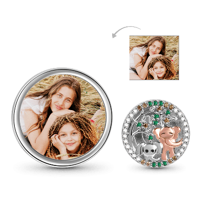 Tree & Elephants Photo Charm
