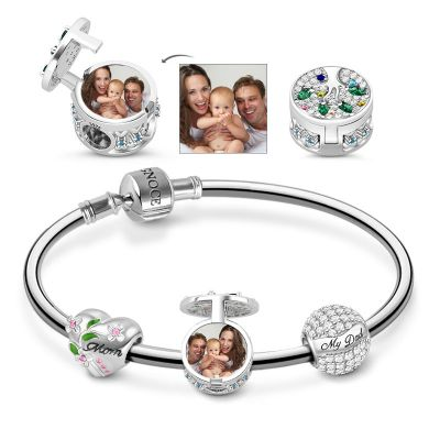Family Tree Photo Charm Bracelet