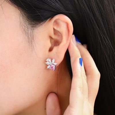 Cushion Pink Crystal Stud