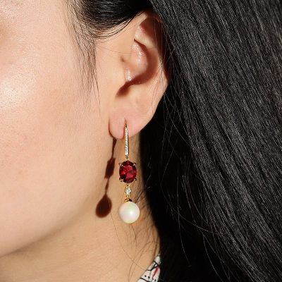 Pearl Red Drop Earrings