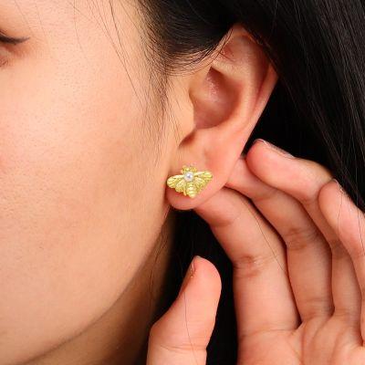 Honeybee Pearl Stud Earrings