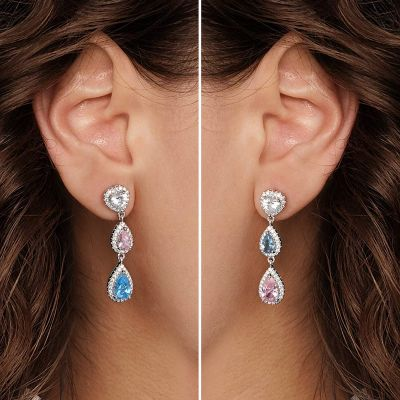 Pink Blue Gemstone Dangle Earrings