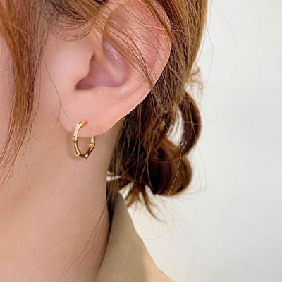Bamboo Slub Hoop Earrings