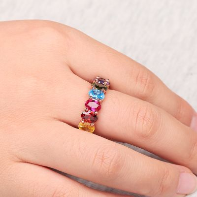 Rainbow Oval Band Ring