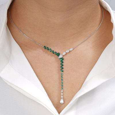 Green Gems Silver Necklace