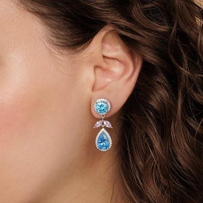 Azure Pear Cut Diamond Earrings