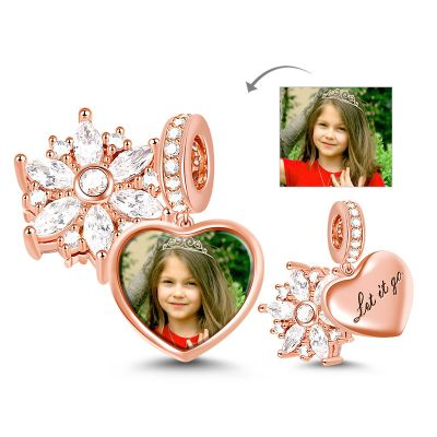 Snowflake Heart Photo Pendant