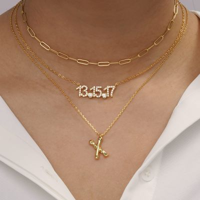 Bamboo Initial X Necklace