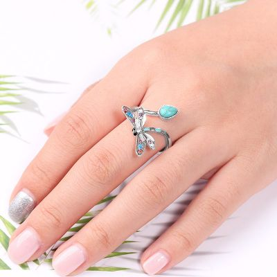 Turquoise Dragonfly Adjustable Ring