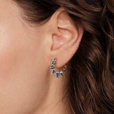 Triangle Blue Hoop Earrings