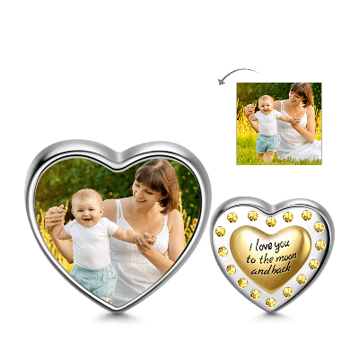 Golden Heart Photo Charm