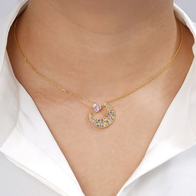 Crescent Moon With Heart Necklace