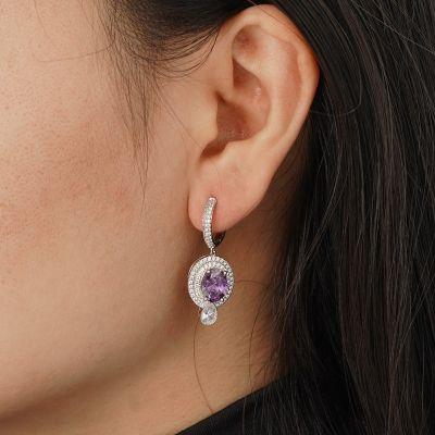Purple Sparking Dangle Earrings