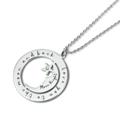 Personalized Moon Star Necklace