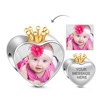 Crown Heart Photo Charm