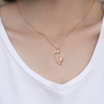Custom Date Baby Feet Necklace