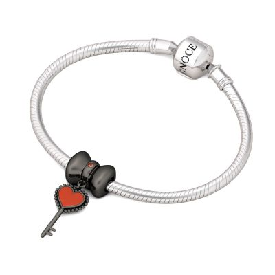 Bow-knot Heart Key Charm