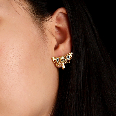 Bee Skull Earrings 18k