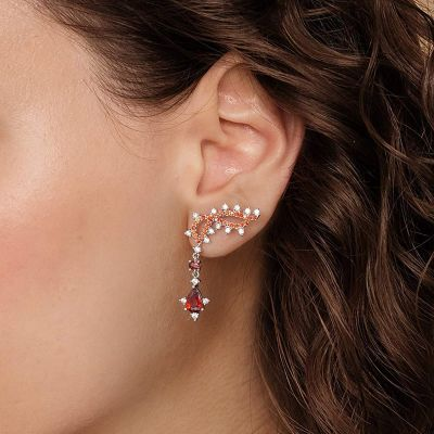 Twisted Red Gem Dangle Earrings