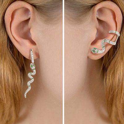 Green Eye Snake Earrings