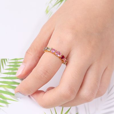 Colorful Crystal Zirconia Ring