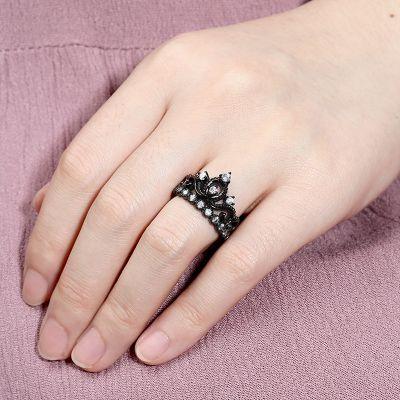 Black Tiara Crown Ring