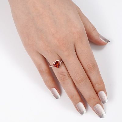 Red Heart Halo Ring