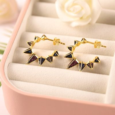 Black Triangle Hoop Earrings with Gold Plated Brass