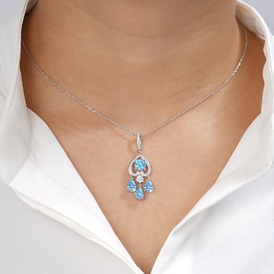 Inverted Blue Heart Necklace