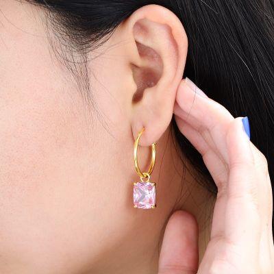 Pink Crystal Hoop Earrings