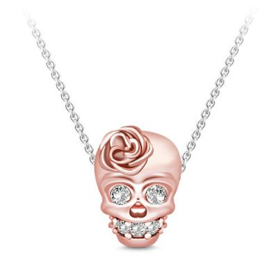 Skull Wears Rose Necklace