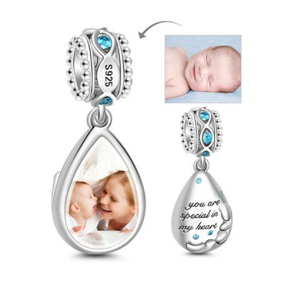 Teardrop Photo Charm Pendant