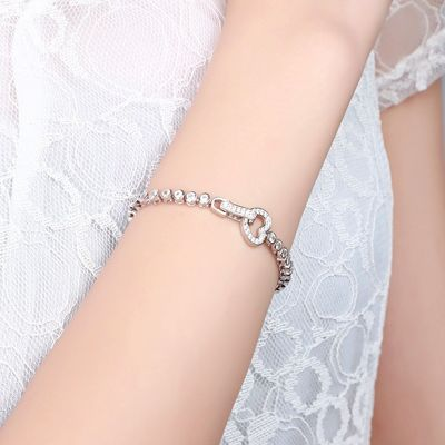 Heart Shape Buckle Tennis Bracelet