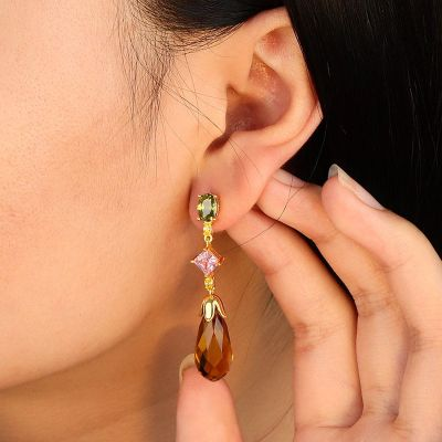 Topaz Gemstone Drop Earrings