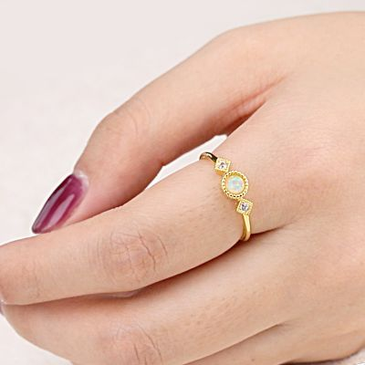 Opal Star Moon Ring