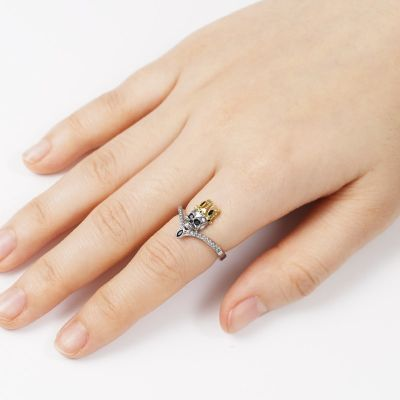 Skull with Crown V Ring