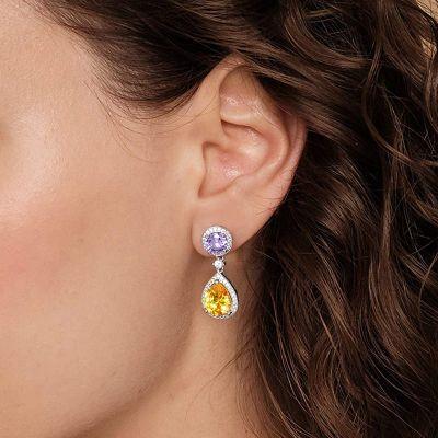 Yellow Gemstone Dangle Earrings