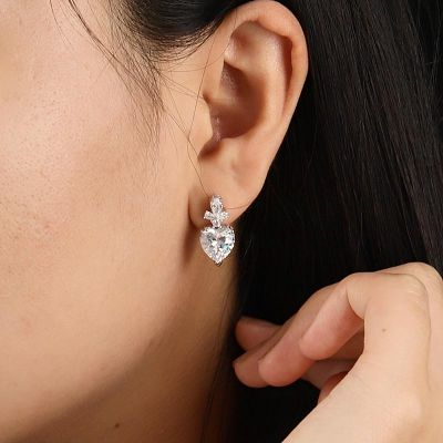Heart Diamond Drop Earrings