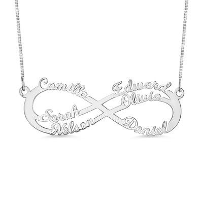 "Gnoce ""Out Of Love"" Personalized 6 Names Infinity Symbol Necklace In Silver"