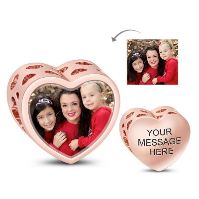 Heart Hallow Engravable Photo Charm