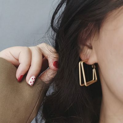 Square Hoop Double Layer Earring